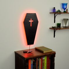 Lighted Gothic Coffin Wall Art Illuminated Gothic by HaloLights