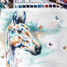 Contemporary watercolour commission x (Near With handmade butterflies 🦋🦋🦋🦋 Photograph shows the piece unmounted and unframed on my studio desk. I hope you like him 😍 Watercolor Horse, Watercolor Artwork, Watercolour, Butterfly Photos, Butterfly Art, Butterflies, Studio Desk, Brown Art, Contemporary Artwork