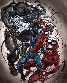 Spidey V Venom and Carnage! Spiderman Tattoo, Venom Spiderman, Marvel Tattoos, Marvel Venom, Spiderman Art, Amazing Spiderman, Marvel Comics Superheroes, Marvel Art, Marvel Heroes