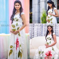 This one of a kind exclusive gem is truly a masterpiece that was specially designed for 's baby shower . Hand painted by extremely talented artists who helped us in executing our vision. Own these customised pieces of art and feel like royalty😍. Maternity Shoot Dresses, Maternity Wear, Maternity Fashion, Pregnancy Dress, Pregnancy Outfits, Dresses For Pregnant Women, Clothes For Women, Simple Gown Design, Baby Shower Photography