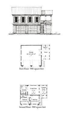 Garage Apartment Plan 73827 | Upper Living Area: 900 sq. ft. with 2 bedrooms & 1 bathroom. Garage Area: 900 sq. ft. #garageapartment #carriagehouse