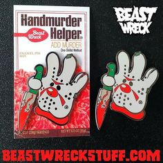 "#Repost @beastwreck  Have you grabbed my new HANDMURDER HELPER pin yet? What the heck are you waiting for?! 2-inch hard enamel pins with 2 butterfly clutches and backer cards! Sing it -- ""Handmurder Helper helped her hands murder helped her make a great kill!"" - #hamburgerhelper #fridaythe13th #horrormovies #jasonvoorhees #hamburger #enamelpins #pingame    (Posted by https://bbllowwnn.com/) Tap the photo for purchase info.  Follow @bbllowwnn on Instagram for great pins patches and more!"