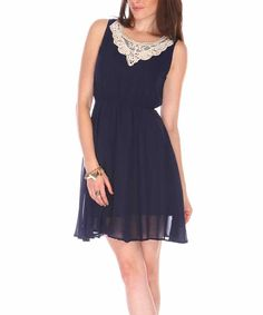 Blue & White Lace Applique Sleeveless Dress | Daily deals for moms, babies and kids