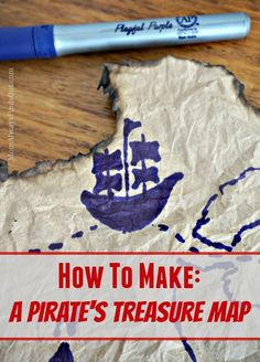 How to make a pirate's treasure map - these would be perfect for a pirate-themed party! Treasure Maps For Kids, Pirate Treasure Maps, Pirate Maps, Pirate Theme, Holiday Club, Pirate Birthday, 4th Birthday, Birthday Parties, Trunk Or Treat