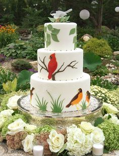 Garden Party Cake, with chickadees, cardinals and robins, by Gateaux Inc. Designed to reflect the bride's love of nature and the venue – her parents' English garden. By Gateaux Inc.