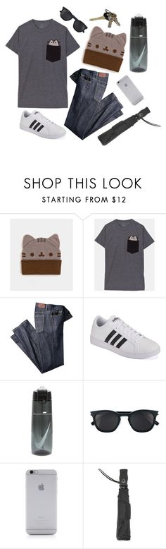 """""""Out & About"""" by pusheen ❤ liked on Polyvore featuring adidas, Avon, NIKE, Yves Saint Laurent, Native Union, Totes, men's fashion and menswear"""