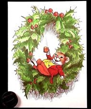 VTG Mouse Mice Coffee Wreath  WALLACE TRIPP Small Christmas Greeting Card UNUSED
