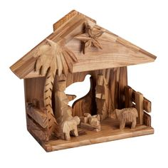 """Music Box Nativity made in West Bank, Palestine - from tenthousandvillages;  olive wood;  6.5""""l x 4""""w x 7""""h"""