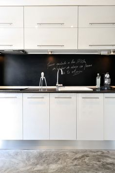 Chalkboard back splash...mother's dream!