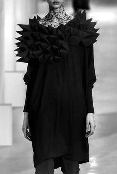 Geometric Fashion with faceted 3D textures; sculptural fashion; wearable art // Junya Watanabe Fall 2015