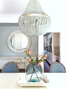 Blue and white dining room with Edisto white beaded chandelier from Kathy Kuo Home. http://www.kristywicks.com