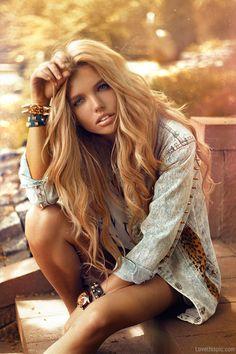 Blonde Beauty fashion hair jewelry denim