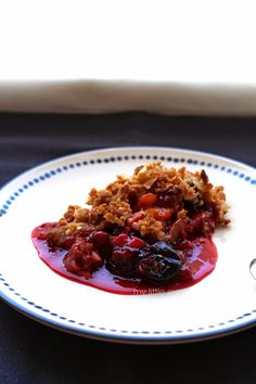 Cherry and apricot almond crumble by My Little Expat Kitchen