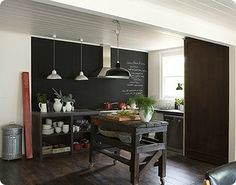 This is a charming idea to incorporate into the design of your kitchen - Chalkboard Paint!