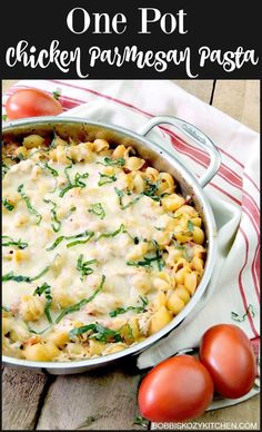 Chicken Parmesan Baked Pasta is a delicious one pot meal that will make the entire family happy! From www.bobbiskozykitchen.com