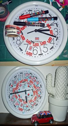 London clock decorated with Artemio masking tape by Claire Cordier