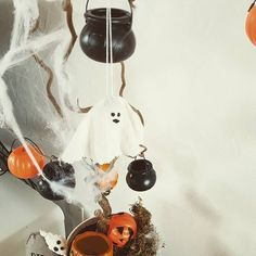 I just made that ghostie too! Spooky Trees, Halloween Trees, Cauldron, Wind Chimes, Pumpkins, Decorating, Outdoor Decor, Instagram Posts, Home Decor