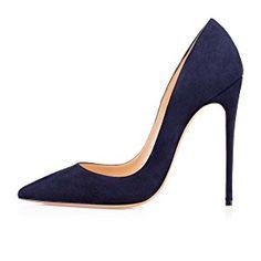 Soireelady Escarpins Femme Classique Chaussures à Talons Avant du Pieds Couvert Femme Navy EU35