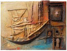 Philippe Rillon. Le retour d'Ulysse, Acrylique et technique mixte/toile, 130x97cm, 2004.  Gorgeous colors!