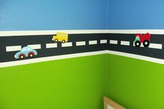 Road painted on the wall with magnetic paint!