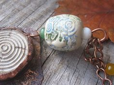 Copper Necklace Polymer Clay Necklace Copper Wire by MaryBulanova, $27.00