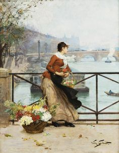 Victor Gabriel Gilbert The Flower Vendor On The Pont Des Arts, Paris Victorian Paintings, Victorian Art, Victorian Women, Gabriel, Classic Paintings, Beautiful Paintings, Academic Art, Art For Art Sake, Henri Matisse