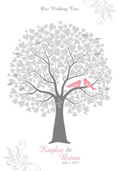 Wedding Tree with Love Birds 80 Signature Guest Book by TJLovePrints on Etsy. $34.00, via Etsy.