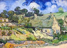 off Hand made oil painting reproduction of Thatched Cottages At Cordeville, one of the most famous paintings by Vincent Van Gogh. After a year in treatment in an asylum in Saint-Rémy, Vincent Van Gogh feels he is prepared to face life on his own . Rembrandt, Vincent Van Gogh, Art Van, Claude Monet, Artist Canvas, Canvas Art, Canvas Size, Van Gogh Arte, Museum Paris