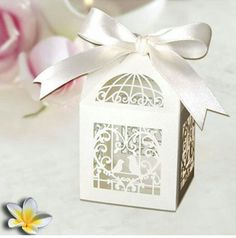 Laser Cut Birdcage Wedding Favor Box in Pearlescent Paper White with White Ribbon Love Birds Wedding, Dream Wedding, Wedding Colors, Kirigami, Wedding Centerpieces, Wedding Decorations, Wedding Ideas, Backdrop Wedding, Wedding 2015