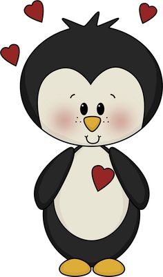 penguin love - clip art