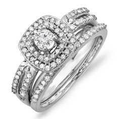 075 Carat ctw 14k White Gold Round Diamond Ladies Bridal Ring Engagement Matching Band Set 34 CT Size 7 *** Read more  at the image link.