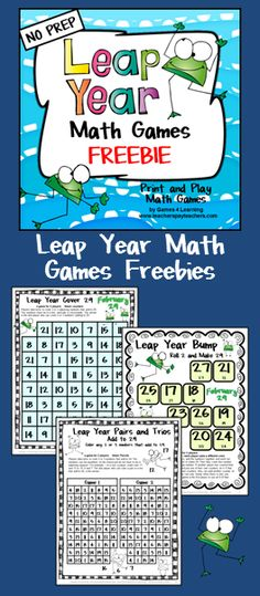 FREEBIE: Leap Year Math Games Freebie - 3 printable math games to celebrate the leap year on February 29.