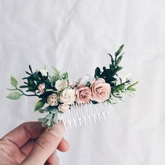 Hair comb Pale pink and dusty rose and grenery headpiece floral hair piece pale pink hair clip bridal hair piece blush pink comb leavfy Bridal Hair Accessories With Veil, Bridal Hair Pins, Hair Comb Wedding, Bridesmaid Hair Accessories, Wedding Rings, Wedding Vows, Wedding Nails, Wedding Dresses, Pale Pink Hair