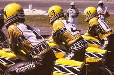 Kenny Roberts, Gene Romero and Don Castro all lined up and waiting to get access to the track for another practice session during the 200 miles of Daytona races in 1975. They all piloted the brand new Yamaha TZ 750. Gene Romero won the race...........