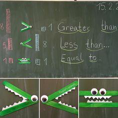 """auf Instagram: """"Greater than, less than, equal to... ( the blackboard does look messy) (Die Holzstäbchen sind übrigens von Tiger. Kann man da schon bunt kaufen!)"""