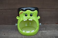 Frankenstein Candy Bowl - Large Handpainted Ceramic Halloween Decor - Black and Neon Green on Etsy, $55.00
