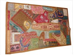 "Patchwork Tapestry Brown Sequin Sparkle Embroidered Wall Hanging Throw India 60""x40"" by Mogul Interior, http://www.amazon.com/dp/B00BUGO842/ref=cm_sw_r_pi_dp_La8qrb1BMP3WB"