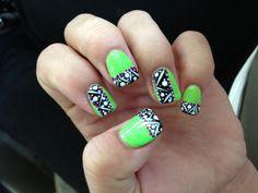 Lime Green Nails with Tribal Pattern. Done at Envy Nail Bar. Kernersville, NC.