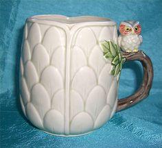 Unique Vintage Retro Porcelain Owl Artichoke Shaped Mug with Branch Handle Cute | eBay