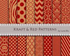 "SALE 60% OFF Kraft digital paper pack: ""Kraft and Red Patterns"" textured papers, kraft paper background, red digital paper, patterned paper"