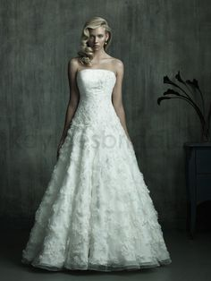 Kaylees Bridal - Strapless Embroidered Bodice Ball Gown Wedding Dress
