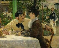 """From Erich Lessing Culture and Fine Arts Archive, Édouard Manet, Chez le Père Lathuille (1879), Oil on canvas This is so cute! Look at his adorable face! and the awkward """"photobomb"""" in the back"""