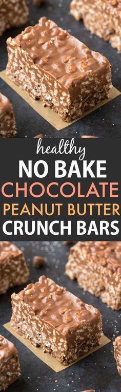 Healthy No Bake Chocolate Peanut Butter Crunch Bars (Vegan, Gluten Free) - . Healthy No Bake Schokoladen-Erdnussbutter-Crunchriegel (vegan, glutenfrei) – …… Healthy No Bake Chocolate Peanut Butter Crunch Bars (Vegan, Gluten Free) – …, butter free Healthy Candy, Healthy Sweets, Healthy Baking, Healthy Cereal, Easy Healthy Deserts, Paleo Cereal, Healthy Bars, Healthy Sweet Treats, Vegan Baking