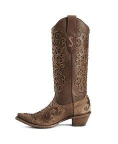 Corral Cognac Lizard Cowgirl Boots - Snip Toe
