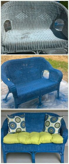 Old wicker bench makeover for front porch