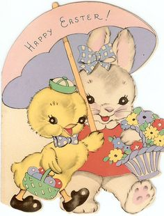 Sweet vintage Easter bunny and chick friends Hoppy Easter, Easter Bunny, Easter Chick, Vintage Greeting Cards, Vintage Postcards, Vintage Images, Fete Pascal, Easter Parade, Easter Celebration