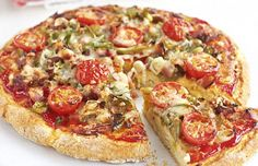 FOR SCONE BASE 250g/9oz plain flour 1 tsp salt 2 tsp baking powder 50g/2oz butter, chopped 2 eggs 3 tbsp milk FOR TOPPING 1 tbsp olive oil 1 green pepper, quartered, deseeded and thinly sliced 4 rashers streaky bacon, chopped 5 spring onions, thinly sliced 2 tbsp tomato ketchup mixed with 2 tbsp tomato purée 6-8 cherry tomatoes, halved 85g/3oz mature cheddar, grated