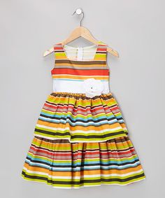 Take a look at this Lime Rainbow Stripe Dress - Infant, Toddler & Girls by Kid Fashion on #zulily today!