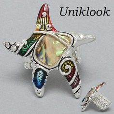 "Chunky Silver Abalone Multi Colors 1-3/4"" starfish Fashion jewelry Stretch Ring $18.99"