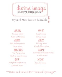 Divine Image Photography | 2012 Stylized Mini Session Schedule
